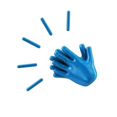 Photo pour Les mains bleues applaudissent illustration 3d sur fond blanc - image libre de droit