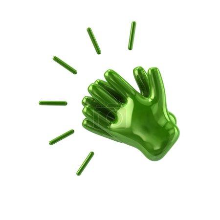 Photo pour Les mains vertes applaudissent isolées sur fond blanc - image libre de droit