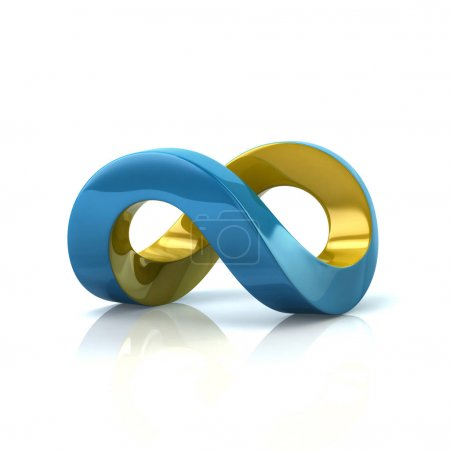 Photo for Blue and yellow infinity symbol 3d rendering on white background - Royalty Free Image