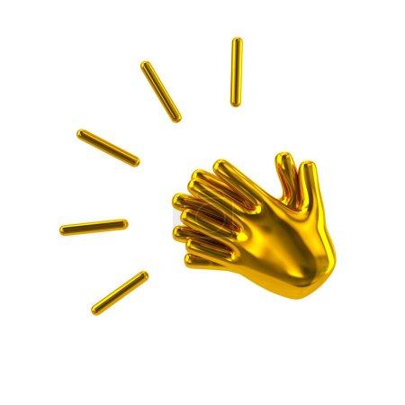Photo pour Mains d'or applaudissements 3d illustration sur fond blanc - image libre de droit
