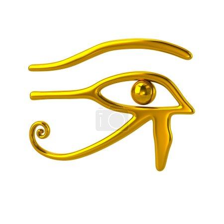Photo pour Illustration 3D du symbole oeil d'Horus doré isolé sur fond blanc - image libre de droit