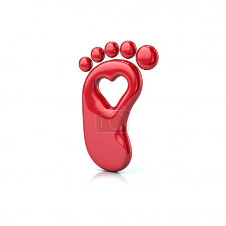 Photo for 3d illustration of red footprint with heart isolated on white background - Royalty Free Image