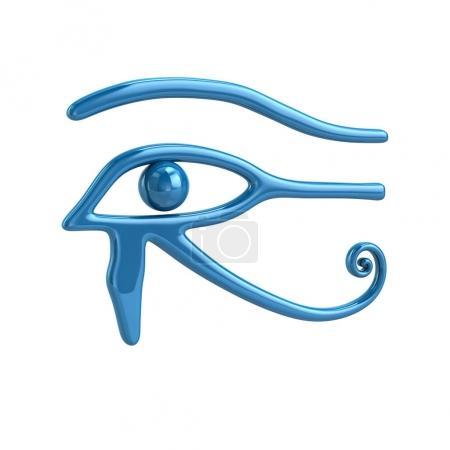 Photo pour Illustration 3d du symbole Oeil d'Horus bleu isolé sur fond blanc - image libre de droit