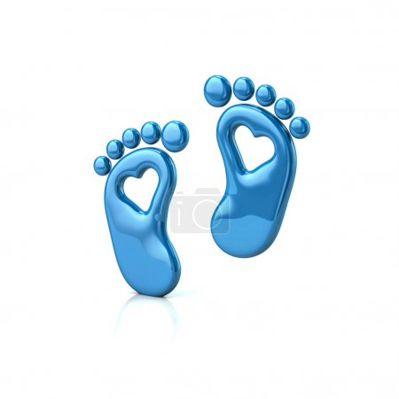 Blue baby footprints with hearts