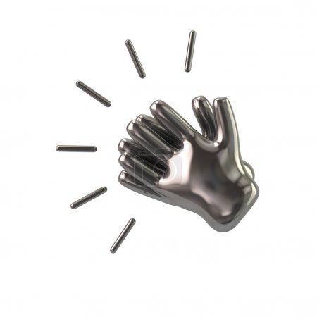Silver clapping hands icon