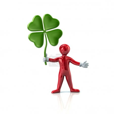 cartoon man holding clover leaf