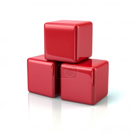Three red cubes
