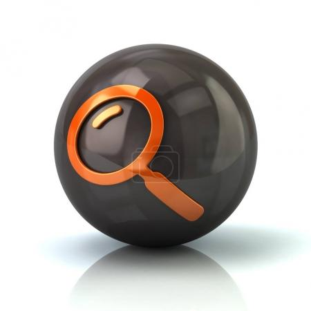 Orange search icon on black glossy sphere
