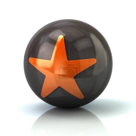 Orange star icon on black glossy sphere