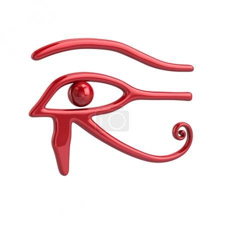 Photo pour Illustration 3D de rouge symbole de l'oeil de Rê isolé sur fond blanc - image libre de droit