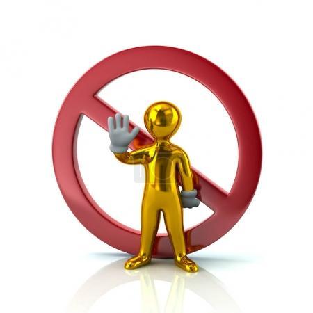 Golden man showing stop gesture