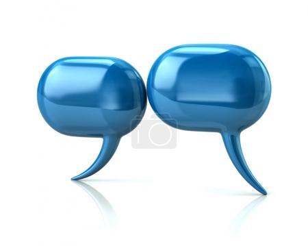 Blue glossy speech bubbles