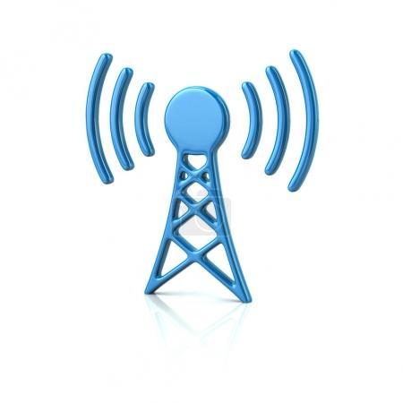 Photo pour Icône tour émetteur bleu, illustration 3d sur fond blanc - image libre de droit