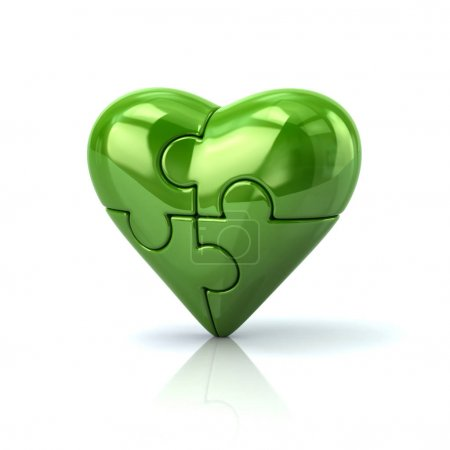 Green heart jigsaw puzzle