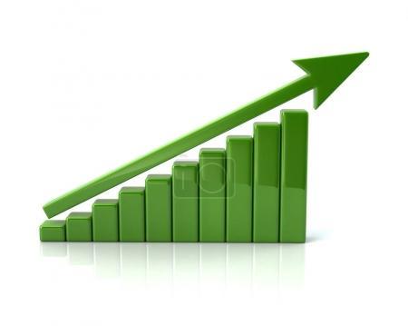 Green success business growth chart