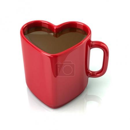 Red heart shaped coffee mug