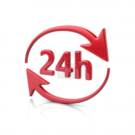 Red 24 hours icon