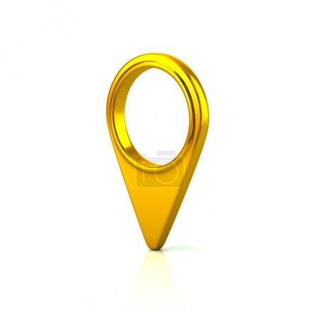 Round golden map pointer