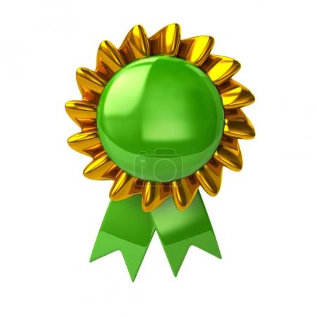 Green badge with ribbons