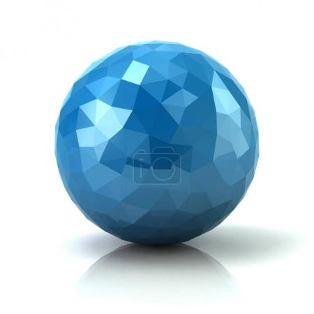 Blue low poly abstract 3d sphere