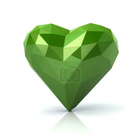 Photo for Low poly abstract green heart 3d illustration on white background. Love concept. - Royalty Free Image