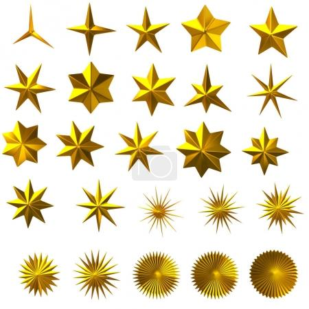 Set of golden stars 3d illustration