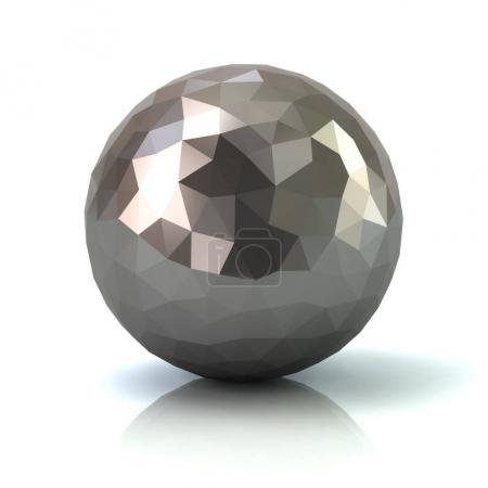 Silver low poly abstract sphere