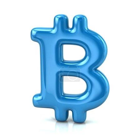 Digital currency blue Bitcoin symbol