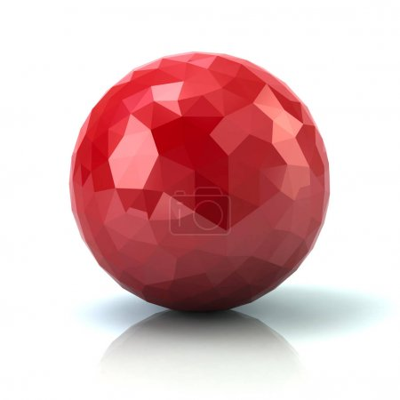 Red low poly sphere