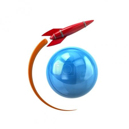 3d illustration of red rocket circling around blue earth symbol on white background, vector, illustration