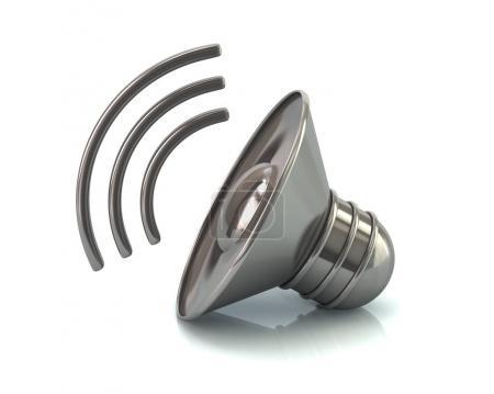 Silver audio speaker volume icon isolated on white background, 3d illustration