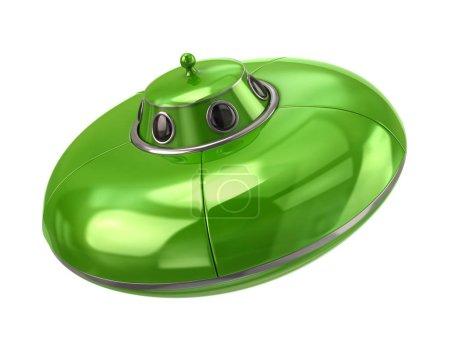 green alien spaceship  on white background, 3d illustration