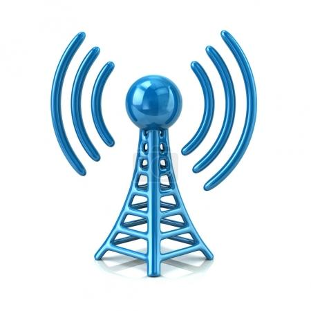 3d illustration of blue wireless tower isolated on white background
