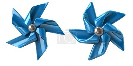 Blue windmills, 3d illustration isolated on white background
