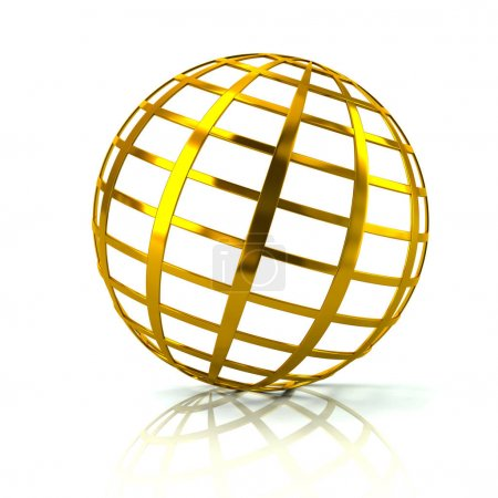 Golden globe icon isolated on white background