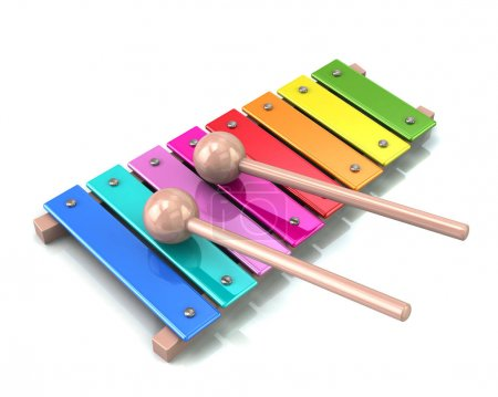 Photo for Xylophone with rainbow colored keys isolated on white background - Royalty Free Image