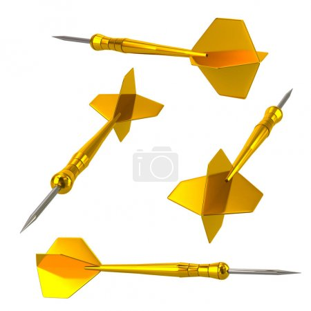 Photo for Golden darts arrows on white background - Royalty Free Image