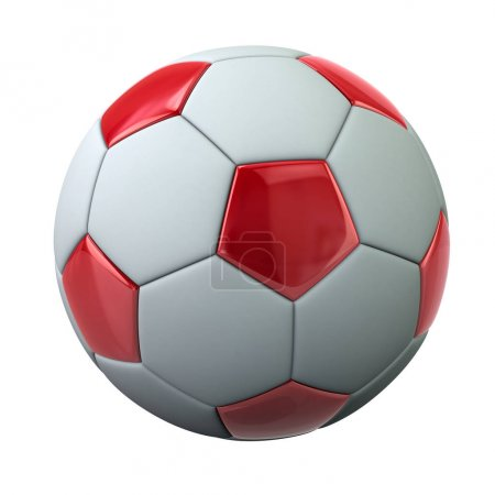 Red and white soccer ball on white background