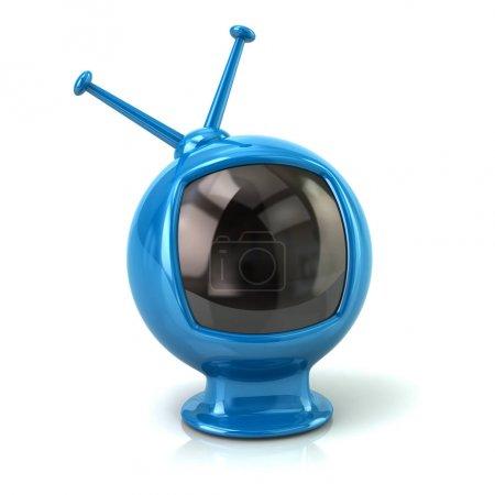 Blue retro tv isolated on white background