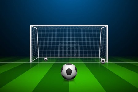 Vector illustration of Soccer goal and ball.