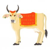 Sacred cow icon in cartoon style isolated on white background India symbol stock vector illustration