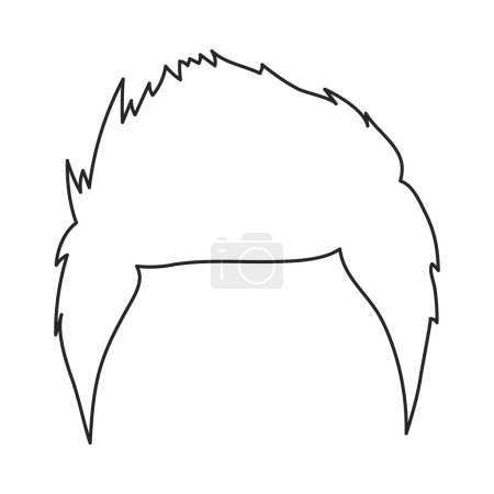 Mans hairstyle icon in outline style isolated on white background. Beard symbol stock vector illustration.