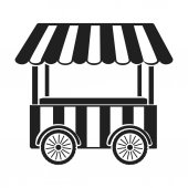 Snack cart icon in black style isolated on white background Circus symbol stock vector illustration
