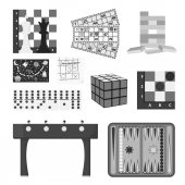 Board games set icons in monochrome style Big collection of board games vector symbol stock illustration