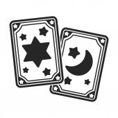 Tarot cards icon in black style isolated on white background Black and white magic symbol stock vector illustration