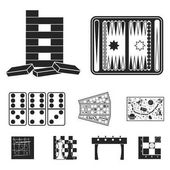 Board games set icons in black style Big collection of board games vector symbol stock illustration