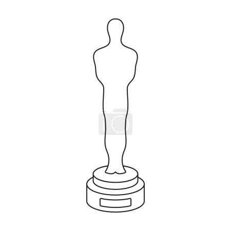 Academy award icon in outline style isolated on white background. Films and cinema symbol stock vector illustration.