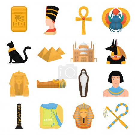 Ancient Egypt set icons in cartoon style. Big coll...