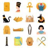 Ancient Egypt set icons in cartoon style Big collection of ancient Egypt vector symbol stock illustration