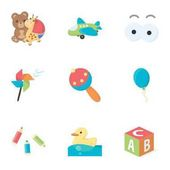 Toys set icons in cartoon style Big collection of toys vector symbol stock illustration